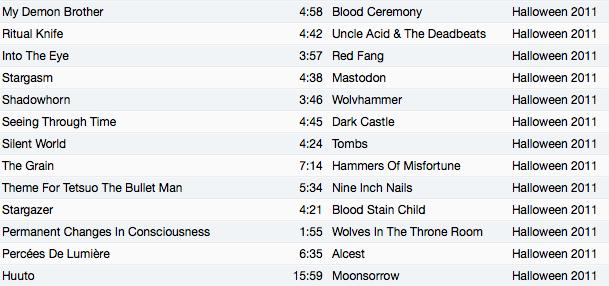 Halloween 2011 tracks